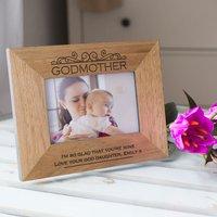 Engraved Wooden Photo Frame - Godmother - Godmother Gifts