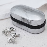 Bike Cufflinks In Personalised Box - Cufflinks Gifts