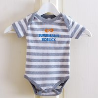 Personalised Striped Baby Onesie - Mask - Onesie Gifts