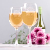 Image of Personalised Set Of 2 Wine Glasses - Sisters