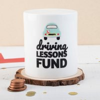 Personalised Ceramic Money Box - Driving Lessons Fund - Money Box Gifts