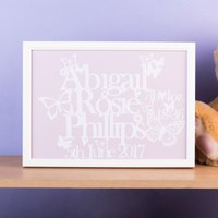 Personalised Papercut Framed Print - New Baby - Decorations Gifts