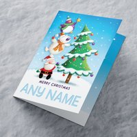 Personalised Christmas Card - Decorating The Tree - Decorating Gifts