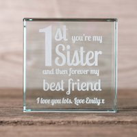 Personalised Glass Token - 1st You're My Sister, Forever Best Friend - Best Friend Gifts