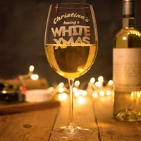 Engraved Giant Wine Glass - White Xmas - Xmas Gifts