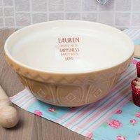 Personalised Tan Mixing Bowl - Love Hearts - Bowl Gifts