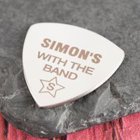 Engraved Guitar Plectrum - With The Band - Music Gifts