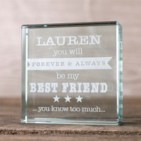 Personalised Glass Token - Forever And Always My Best Friend - Best Friend Gifts