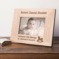 Engraved Wooden Photo Frame - Christening Day