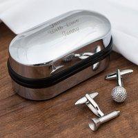 Golfers Cufflinks In Personalised Box - Cufflinks Gifts