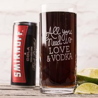 Engraved Crystal Highball Glass With Smirnoff™ Mixer - All You Need Is... - Smirnoff Gifts