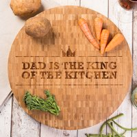 Personalised Large Round Bamboo Chopping Board - Crown - Chopping Board Gifts