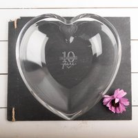 Personalised Heart Glass Bowl - 10 Years - Bowl Gifts