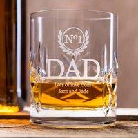 Personalised Cut Crystal Whisky Tumbler - No. 1 Dad - Crystal Gifts