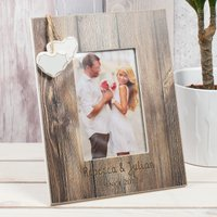 Personalised Distressed Wood Photo Frame - Couples - Wood Gifts