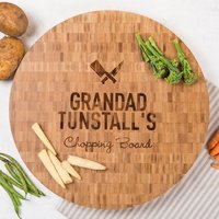Personalised Large Round Bamboo Chopping Board - Grandad - Chopping Board Gifts