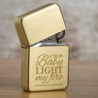 Engraved Gold Lighter - C'mon Baby Light My Fire - Lighter Gifts