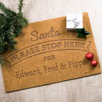 Personalised Santa Stop Here Outdoor Doormat
