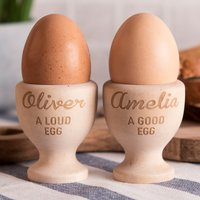Personalised Wooden Egg Cups - Good Egg, Loud Egg - Cups Gifts