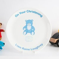 Personalised Bone China Plate - Christening Blue Teddy
