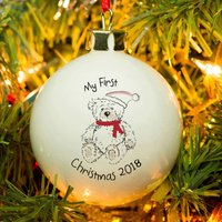Personalised Bone China Bauble - My First Christmas Teddy Bear - Teddy Bear Gifts
