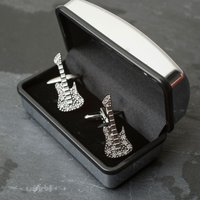 Crystal Guitar Cufflinks - Guitar Gifts