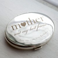 Engraved Silver Oval Compact Mirror - Mother My Best Friend - Friend Gifts