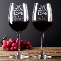 Personalised Set Of 2 Wine Glasses - Live Laugh Love - Laugh Gifts