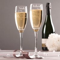 Personalised Set Of 2 Champagne Flutes - Love And Laughter - Laughter Gifts