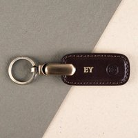Embossed Ponte Italian Leather Key Ring - Key Ring Gifts