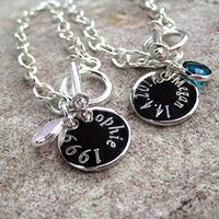 Personalised Edge Birthstone Link Bracelet - Message - Birthstone Gifts