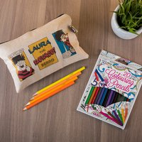 Personalised Beano Classic Canvas Pencil Case & Pencils - Problem Solved - Pencil Case Gifts