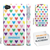 Personalised Phone Cover - Coloured Hearts - Phone Gifts