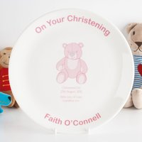 Personalised Bone China Plate - Christening Pink Teddy - Teddy Gifts