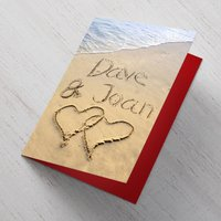 Personalised Card - Beach Hearts - Beach Gifts