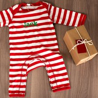 Personalised Red & White Stripe Baby Grow