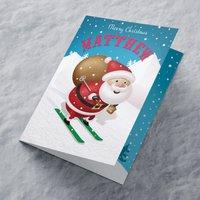 Personalised Christmas Card - Skiing Santa - Skiing Gifts
