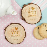 Set of Two Tree Carving Coasters - I Love You Grandma
