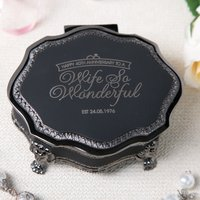 Personalised Black Vintage Jewellery Box - 40th Anniversay, Wife - 40th Gifts