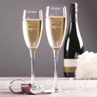 Personalised Set Of 2 Champagne Flutes - Prosecco, Classy People - Classy Gifts