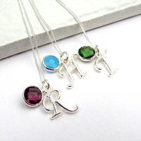 Image of Personalised Initial Birthstone Necklace