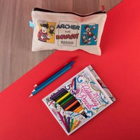 Personalised Beano Classic Canvas Pencil Case & Pencils - Water Pistol - Beano Gifts