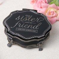 Personalised Black Vintage Jewellery Box - My Sister - Jewellery Box Gifts