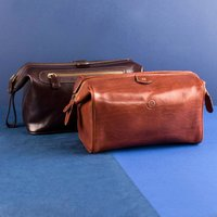 Embossed Duno Italian Leather Travel Wash Bag