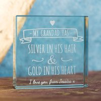 Personalised Glass Token - Grandad, Silver And Gold - Grandad Gifts