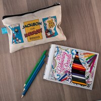 Personalised Beano Classic Canvas Pencil Case & Pencils - Top Dog - Dog Gifts