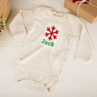 Personalised Beige Organic Cotton Long Sleeve Baby Grow - Snowflake - Babygrow Gifts