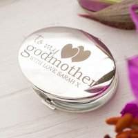 Engraved Silver Oval Compact Mirror - My Godmother - Godmother Gifts
