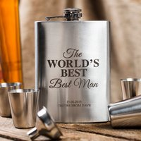 Personalised Hip Flask & Cups Travel Set - World's Best Man - Best Man Gifts