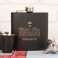 Personalised Matte Black Hip Flask Gift Set - The World's Best Husband - Husband Gifts